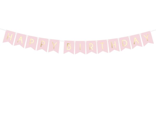 baner happy birthday różowy, baner urodzinowy , pudrowy róż baner na urodziny, dekoracje urodzinowe, dekoracje na impreze