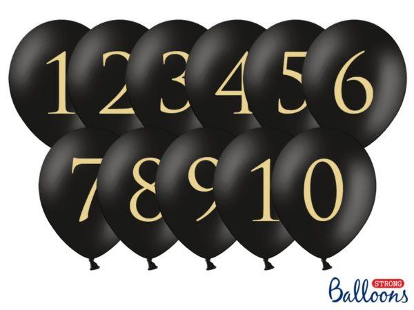 czarne balony okrągłe ze złotą cyfrą, czarne balony na imprezę, balony złote cyfry na imprezę
