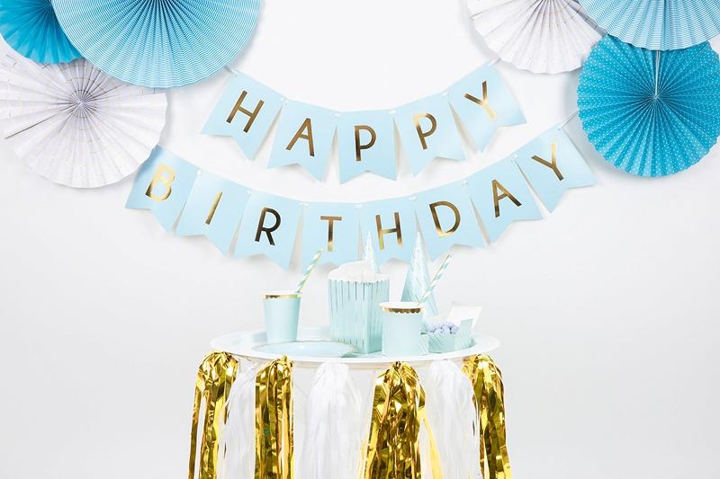 dekoracje na impreze, baner happy birthday błękitny, baner urodzinowy , niebieski baner na urodziny, dekoracje urodzinowe,