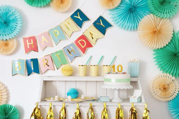 dekoracje na impreze, baner happy birthday kolorowy, baner urodzinowy , kolorowy baner na urodziny, dekoracje urodzinowe,