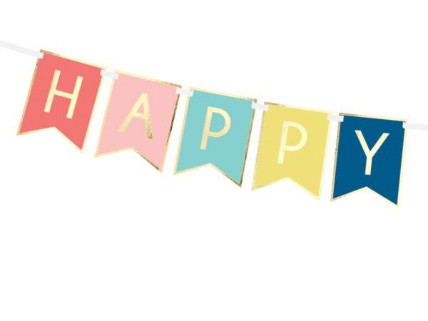 dekoracje urodzinowe, baner happy birthday kolorowy, baner urodzinowy , kolorowy baner na urodziny, dekoracje na impreze
