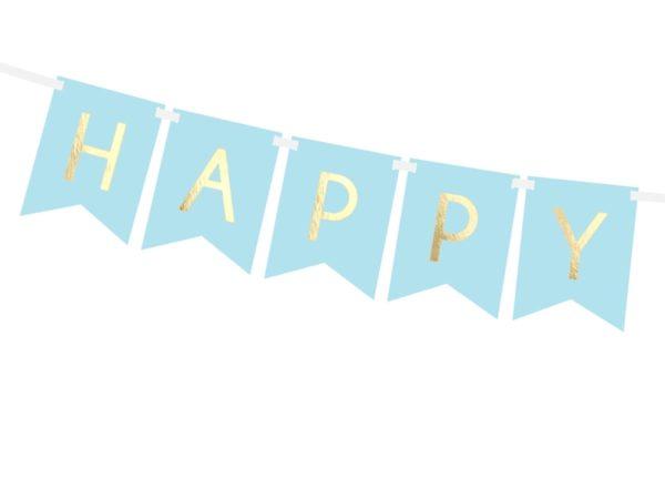 dekoracje urodzinowe, baner happy birthday niebieski, baner urodzinowy , błękitny baner na urodziny, dekoracje na impreze