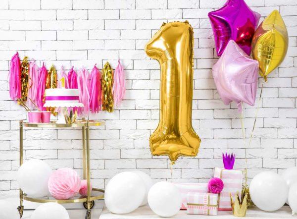 dekoracje złote na imprezę, balon cyfra foliowa 1, złote balony urodzinowe cyfry, , złoty balon cyfra 86 cm, balony na imprezy,