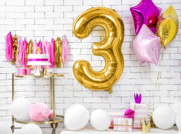 dekoracje złote na imprezę, balon cyfra foliowa 3, balony na imprezy, złote balony urodzinowe cyfry, , złoty balon cyfra 86 cm,