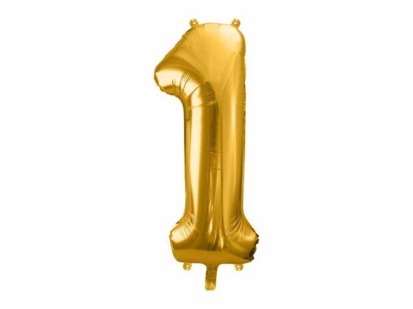dekoracje złote na imprezę, złote balony urodzinowe cyfry, balon cyfra foliowa 1, złoty balon cyfra 86 cm, balony na imprezy,