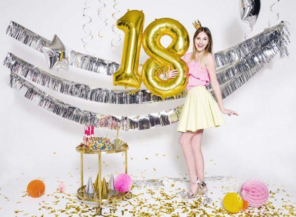 dekoracje złote na imprezę, złote balony urodzinowe cyfry, balon cyfra foliowa 18, złoty balon cyfra 86 cm, balony na imprezy,