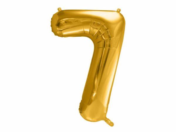 dekoracje złote na imprezę, złoty balon cyfra 7, balon cyfra foliowa 7, złote balony urodzinowe cyfry, balony na imprezy, 86 cm,