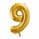 dekoracje złote na imprezę, złoty balon cyfra 9, balon cyfra foliowa 9, złote balony urodzinowe cyfry, balony na imprezy, 86 cm,