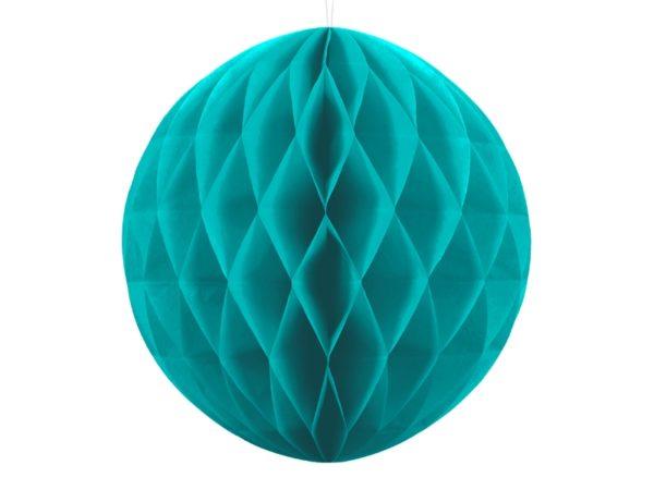 kula bibułowa turkusowa 40 cm, dekoracje papierowe na imprezę,