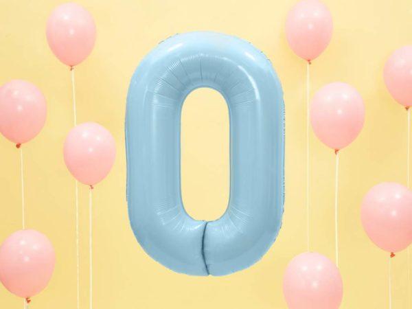 niebieski balon cyfra 0, dekoracje błękitne na imprezę, balon cyfra foliowa 0, niebieskie i błękitne balony urodzinowe cyfry, balony na imprezy, 86 cm,