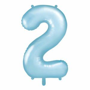 niebieski balon cyfra 2, niebieskie i błękitne balony urodzinowe cyfry, dekoracje błękitne na imprezę, balon cyfra foliowa 2, balony na imprezy, 86 cm,