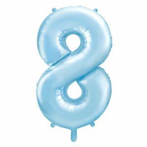 niebieski balon cyfra 8, balon cyfra foliowa 8, dekoracje błękitne na imprezę, niebieskie i błękitne balony urodzinowe cyfry, balony na imprezy, 86 cm,