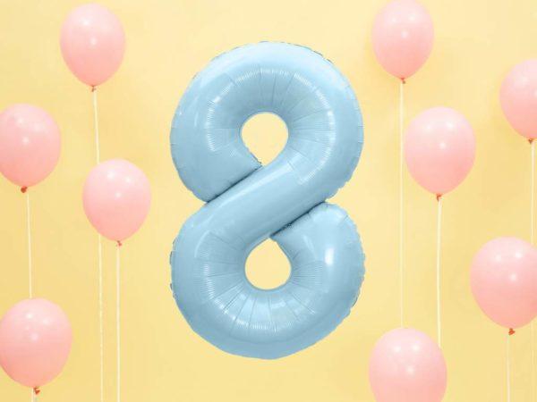 niebieski balon cyfra 8, dekoracje błękitne na imprezę, balon cyfra foliowa 8, niebieskie i błękitne balony urodzinowe cyfry, balony na imprezy, 86 cm,