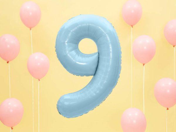 niebieski balon cyfra 9, balon cyfra foliowa 9, dekoracje błękitne na imprezę, niebieskie i błękitne balony urodzinowe cyfry, balony na imprezy, 86 cm,