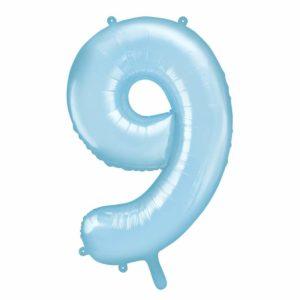 niebieski balon cyfra 9, dekoracje błękitne na imprezę, balon cyfra foliowa 9, niebieskie i błękitne balony urodzinowe cyfry, balony na imprezy, 86 cm,