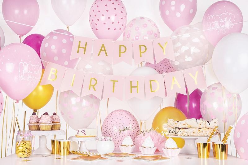 pudrowo różowe dekoracje na impreze, baner happy birthday różowy, baner urodzinowy , pudrowy róż baner na urodziny, dekoracje urodzinowe,