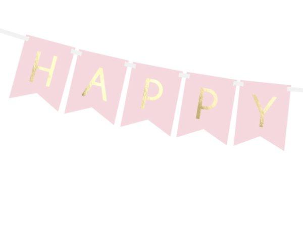 różowe dekoracje na impreze, baner happy birthday różowy, baner urodzinowy , pudrowy róż baner na urodziny, dekoracje urodzinowe,
