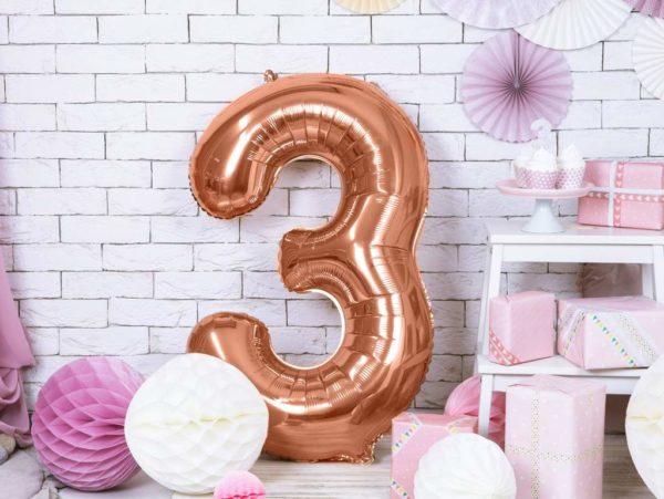 różowo złote balony urodzinowe cyfry, balon cyfra 3 golden rose, dekoracje złoty róż na imprezę, balon cyfra foliowa 3, 86 cm, balony na imprezy,