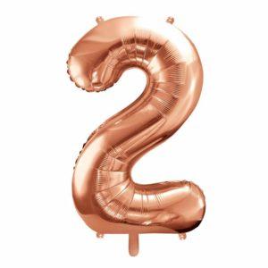 różowo złote balony urodzinowe cyfry, dekoracje złoty róż na imprezę, balon cyfra foliowa 2, balon cyfra 2 golden rose, 86 cm, balony na imprezy,