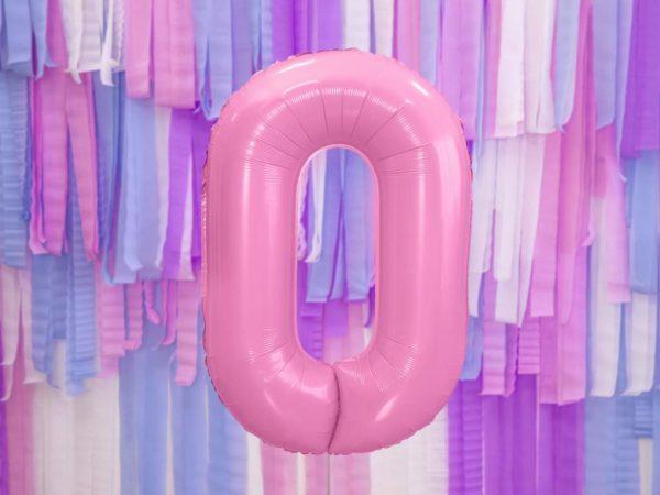 różowy balon cyfra 0, balon cyfra foliowa 0, różowe dekoracje na imprezę, różowe balony urodzinowe cyfry, balony na imprezy, 86 cm,