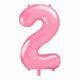 różowy balon cyfra 2, balon cyfra foliowa 2, różowe dekoracje na imprezę, jasno różowe balony urodzinowe cyfry, balony na imprezy, 86 cm,