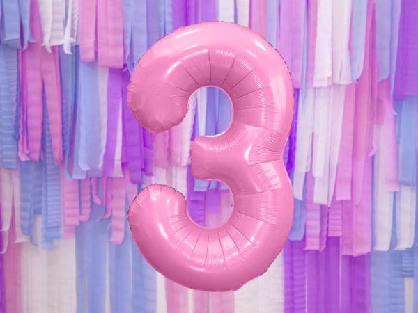 różowy balon cyfra 3, balon cyfra foliowa 3, różowe dekoracje na imprezę, jasno różowe balony urodzinowe cyfry, balony na imprezy, 86 cm,