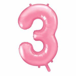 różowy balon cyfra 3, balon cyfra foliowa 3, różowe dekoracje na imprezę, różowe balony urodzinowe cyfry, balony na imprezy, 86 cm,