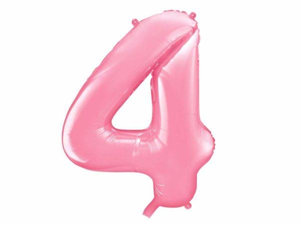 różowy balon cyfra 4, balon cyfra foliowa 4, różowe dekoracje na imprezę, jasno różowe balony urodzinowe cyfry, balony na imprezy, 86 cm,