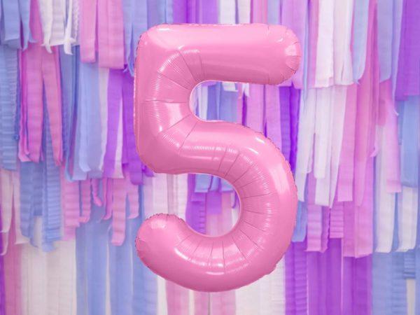 różowy balon cyfra 5, balon cyfra foliowa 5, różowe dekoracje na imprezę, jasno różowe balony urodzinowe cyfry, balony na imprezy, 86 cm,