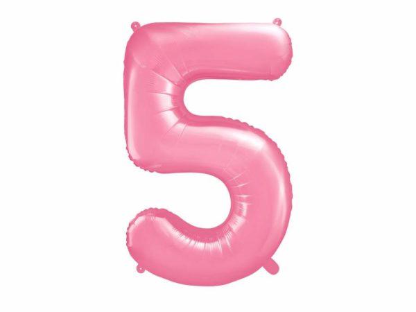 różowy balon cyfra 5, balon cyfra foliowa 5, różowe dekoracje na imprezę, różowe balony urodzinowe cyfry, balony na imprezy, 86 cm,