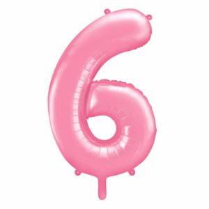 różowy balon cyfra 6, balon cyfra foliowa 6, różowe dekoracje na imprezę, jasno różowe balony urodzinowe cyfry, balony na imprezy, 86 cm,