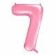 różowy balon cyfra 7, balon cyfra foliowa 7, różowe dekoracje na imprezę, różowe balony urodzinowe cyfry, balony na imprezy, 86 cm,