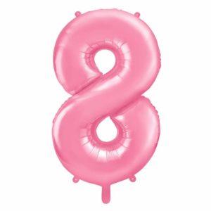 różowy balon cyfra 8, balon cyfra foliowa 8, różowe dekoracje na imprezę, jasno różowe balony urodzinowe cyfry, balony na imprezy, 86 cm,