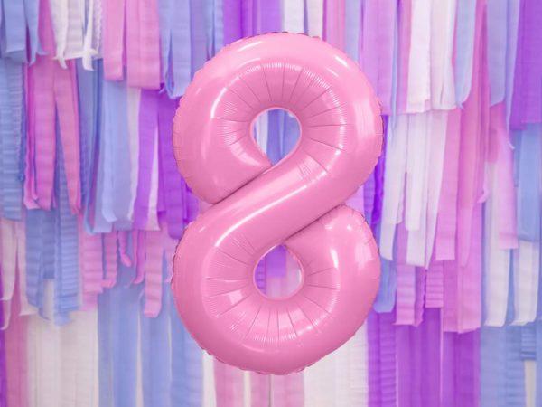 różowy balon cyfra 8, balon cyfra foliowa 8, różowe dekoracje na imprezę, różowe balony urodzinowe cyfry, balony na imprezy, 86 cm,
