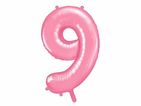 różowy balon cyfra 9, balon cyfra foliowa 9, różowe dekoracje na imprezę, różowe balony urodzinowe cyfry, balony na imprezy, 86 cm,