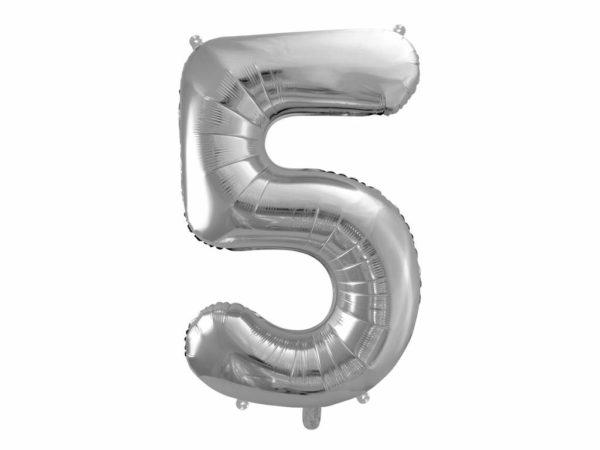 srebrny balon cyfra 5, balon cyfra foliowa 5, srebrne dekoracje na imprezę, srebrne balony urodzinowe cyfry, balony na imprezy, 86 cm,