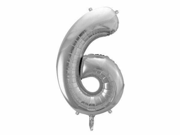 srebrny balon cyfra 6, srebrne balony urodzinowe cyfry, srebrne dekoracje na imprezę, balon cyfra foliowa 6, balony na imprezy, 86 cm,