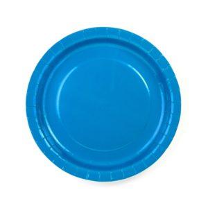 talerzyki papierowe, niebieskie talerzyki papierowe, talerzyki na impreze, niebieskie talerzyki na impreze