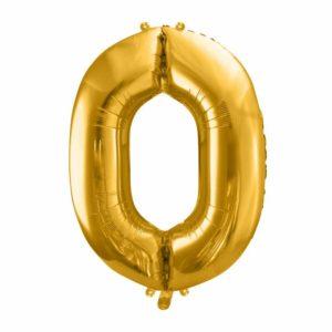 złote balony urodzinowe cyfry, balon cyfra foliowa zero, złoty balon cyfra 86 cm, balony na imprezy, dekoracje złote na imprezę