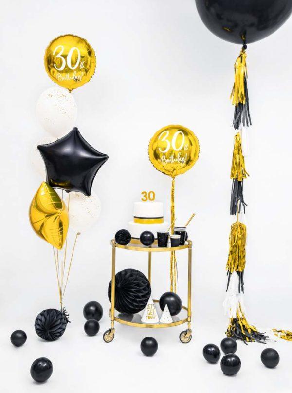 złote dekoracje na imprezę 30 stkę, złoty balon foliowy okrągły z białą cyfrą 30, balony na 30stkę, dekoracje balonowe, balony urodzinowe,