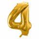 złoty balon cyfra 4, balon cyfra foliowa 4, balony na imprezy, dekoracje złote na imprezę, złote balony urodzinowe cyfry, 86 cm,