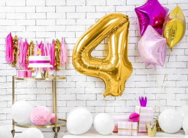 złoty balon cyfra 4, złote balony urodzinowe cyfry, dekoracje złote na imprezę, balon cyfra foliowa 4, balony na imprezy, 86 cm,