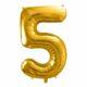 złoty balon cyfra 5, złote balony urodzinowe cyfry, dekoracje złote na imprezę, balon cyfra foliowa 5, balony na imprezy, 86 cm,