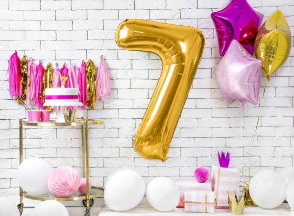 złoty balon cyfra 7, balon cyfra foliowa 7, dekoracje złote na imprezę, złote balony urodzinowe cyfry, balony na imprezy, 86 cm,