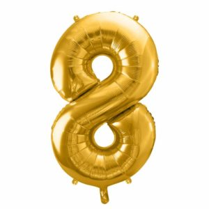 złoty balon cyfra 8, balon cyfra foliowa 8, dekoracje złote na imprezę, złote balony urodzinowe cyfry, balony na imprezy, 86 cm,