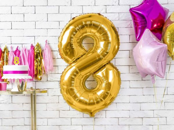 złoty balon cyfra 8, dekoracje złote na imprezę, balon cyfra foliowa 8, złote balony urodzinowe cyfry, balony na imprezy, 86 cm,