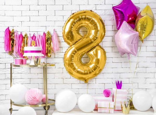 złoty balon cyfra 8, złote balony urodzinowe cyfry, dekoracje złote na imprezę, balon cyfra foliowa 8, balony na imprezy, 86 cm,