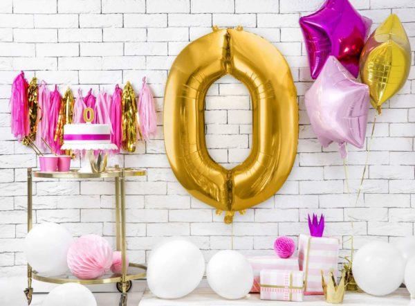 złoty balon cyfra 86 cm, dekoracje złote na imprezę, złote balony urodzinowe cyfry, balon cyfra foliowa zero, balony na imprezy,-001