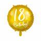 złoty balon foliowy okrągły z białą cyfrą 18, dekoracje balonowe, balony urodzinowe, złote dekoracje na imprezę,