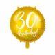 złoty balon foliowy okrągły z białą cyfrą 30, złote dekoracje na imprezę, dekoracje balonowe, balony urodzinowe, balony na 30stkę